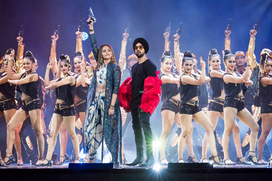 Katrina Kaif and Sonakshi Sinha and Diljit Dosanjh at 2017 IIFA Awards at MetLife Stadium