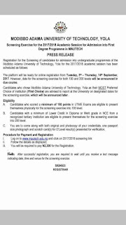 2017/2018 Modibbo Adama University Of Technology, Yola Post-UTME Form Is Out
