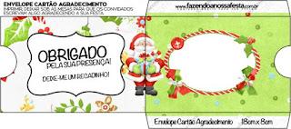 Sobre para invitacion de Santa en Fondo Verde para imprimir gratis.