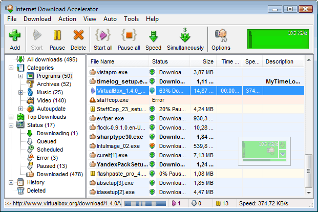 Screenshots of Internet Download Accelerator