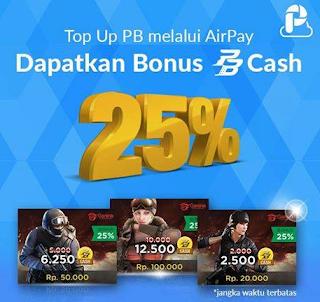 Isi Cash PB via AirPay Dapat Bonus