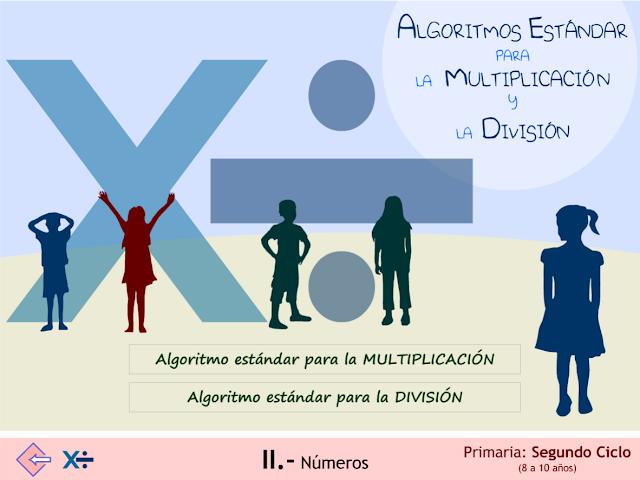 Algoritmos estándar para la multiplicación y división.