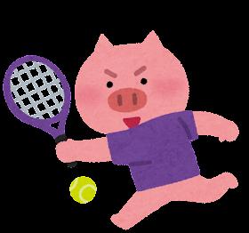 テニスをやる動物のキャラクター(ブタ)