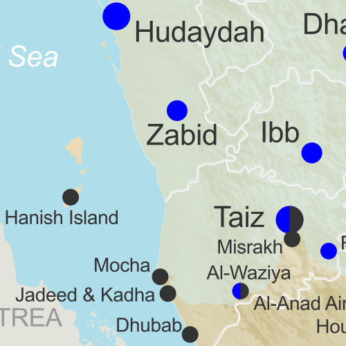 Map of what is happening in Yemen as of February 22, 2017, including territorial control for the Houthi rebels and former president Saleh's forces, president-in-exile Hadi and his allies in the Saudi-led coalition and Southern Movement, Al Qaeda in the Arabian Peninsula (AQAP), and the so-called Islamic State (ISIS/ISIL). Includes recent locations of fighting, including Mocha, Dhubab, Awhar, Lawdar, Shuqrah, and areas long the Yemen border with Saudi Arabia.