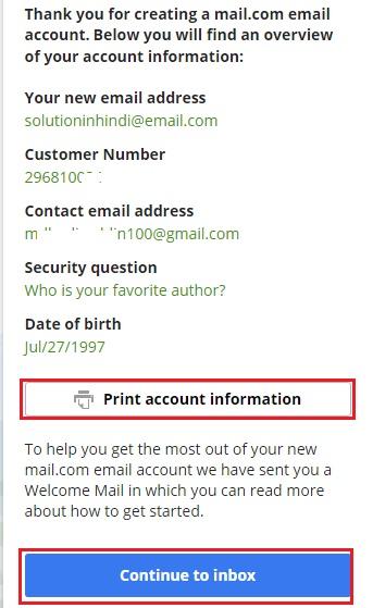 email account banane ke liye continue to inbox par click kare