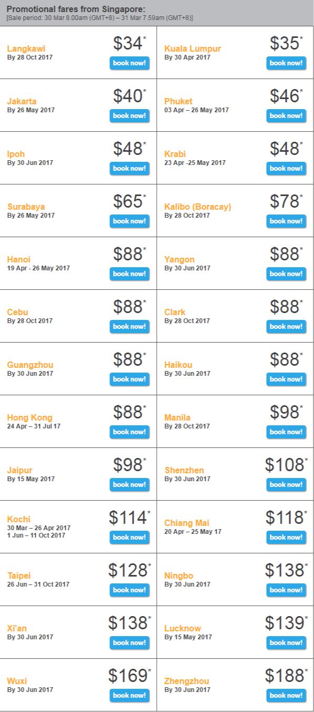 Giá vé mãi Tiger Flash ngày 30-03-2017