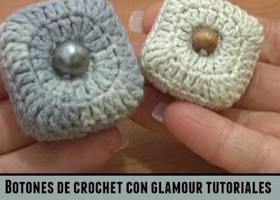 Botones cuadrados y redondos de crochet