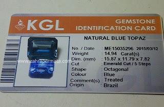 Batu Permata Blue Topaz + Memo - ZP 438