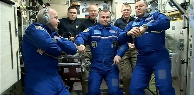 The hatches were opened at 12:55 a.m. EDT on Saturday, Mar. 19 (4:55 GMT).  The new trio joined Expedition 47 Commander Tim Kopra (NASA), Flight Engineers Tim Peake (ESA) and cosmonaut Yuri Malenchenko (Roscosmos) and will stay on the ISS for six months. Credit: NASA TV