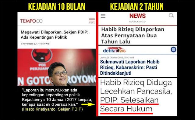 Laporan Megawati Kejadian 10 Bulan Dianggap Politis, Kasus Habib Rizieq 2 Tahun Diproses Hukum