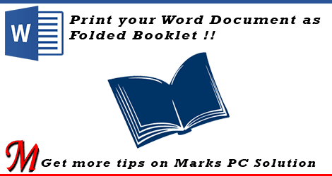 Folded Booklet Printing in Word