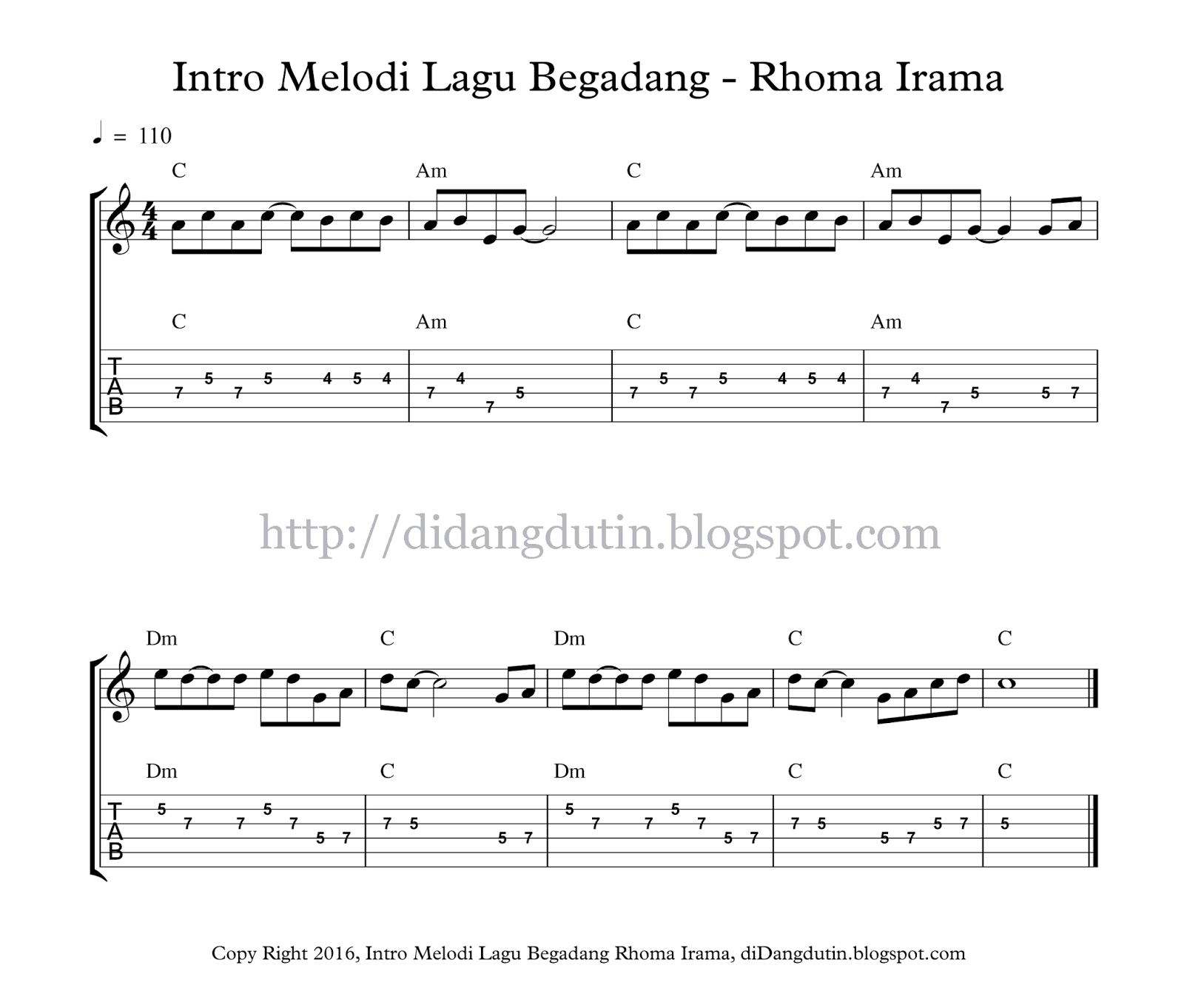 Intro Melodi Tab Dan Not Balok Lagu Begadang Rhoma Irama Didangdutin