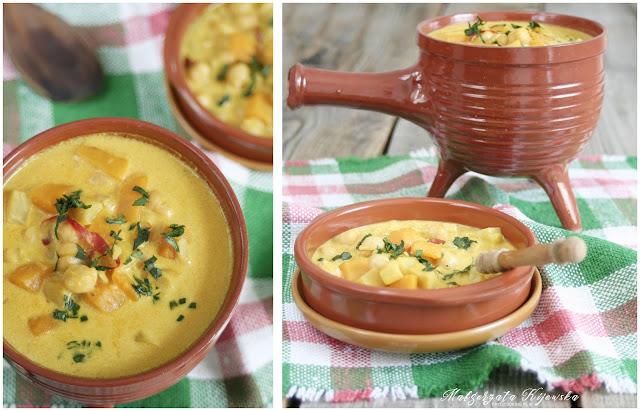 zupa z dyni, z ciecierzycy, rozgrzewające danie, jednogarnkowe, daylicooking