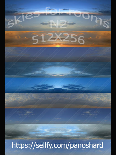 TEXTURES IMVU FOR SALE: 10 SKIES FOR ROOMS N2 512X256