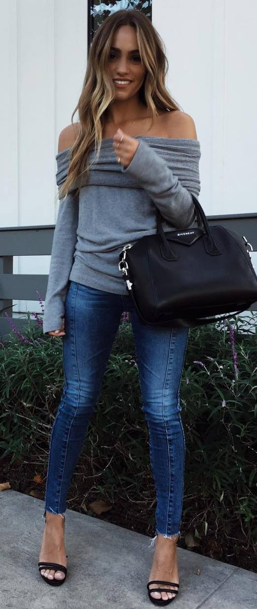 outfit of the day   off shoulder top + bag + skinnies + black heels