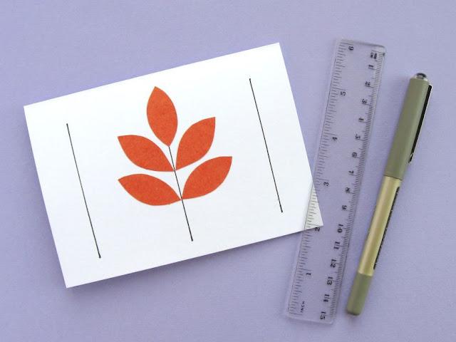 autumn leaf card tutorial drawing leaf stems