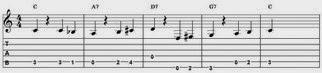 Tablatur over vampen i C med basløb, 3. variant.