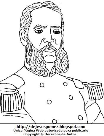 Imagen de Andrés Avelino Cáceres para colorear pintar imprimir. Dibujo de Andrés Avelino Cáceres hecho por Jesus Gómez