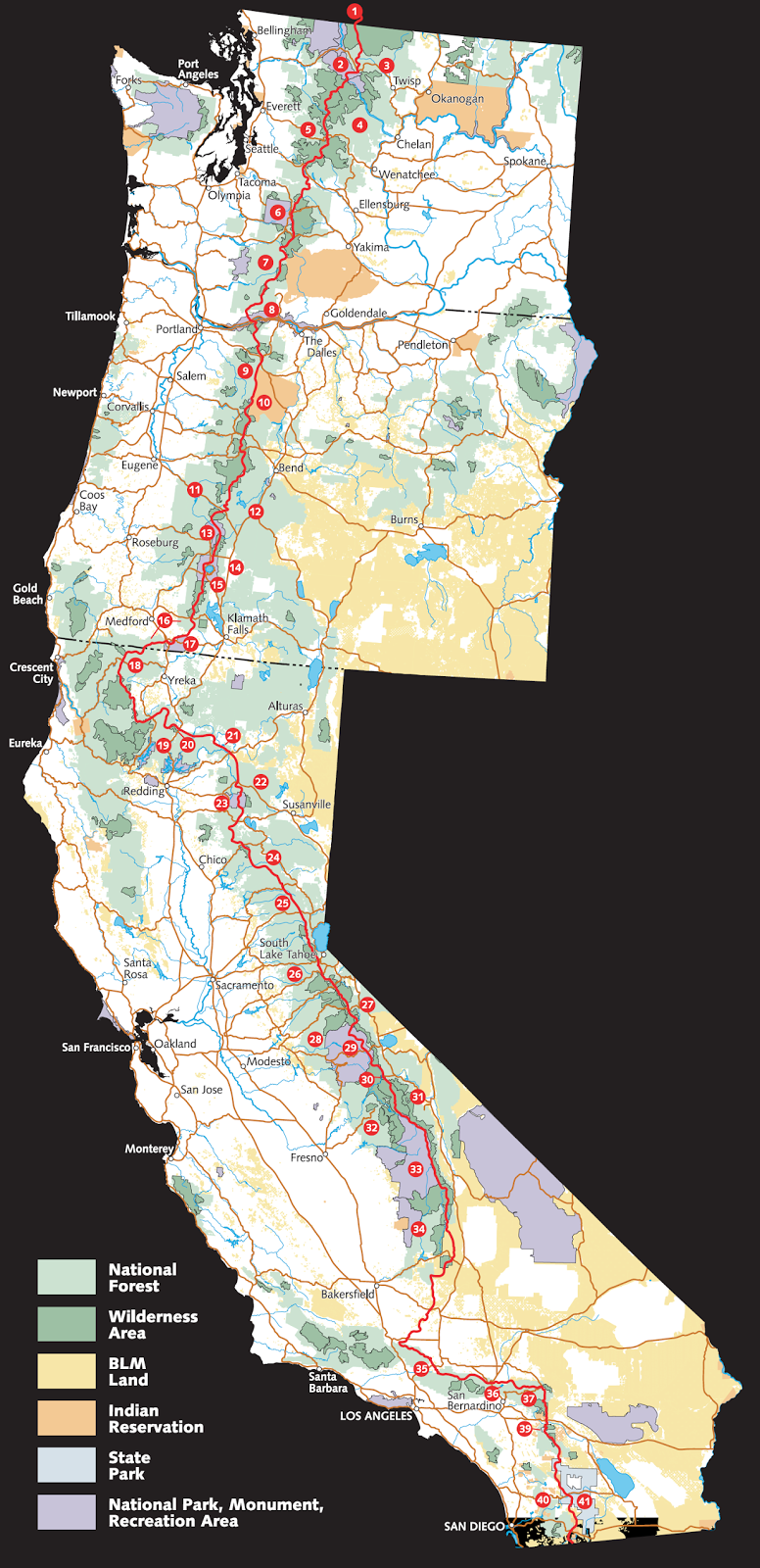 Map of the Pacific Crest Trail (PCT)