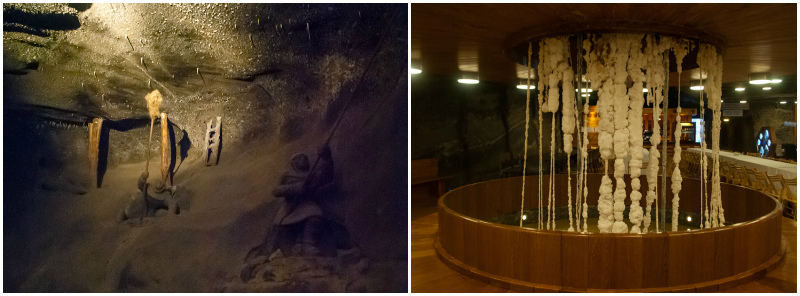 Wieliczka Salt Mine in Poland collage
