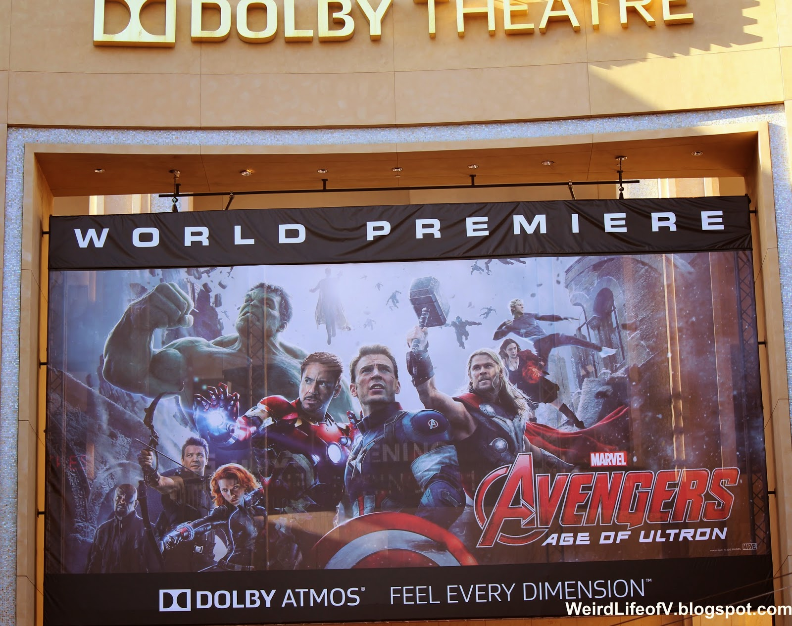 Avengers: Age of Ultron Banner hung over street entrance to Dolby Theatre
