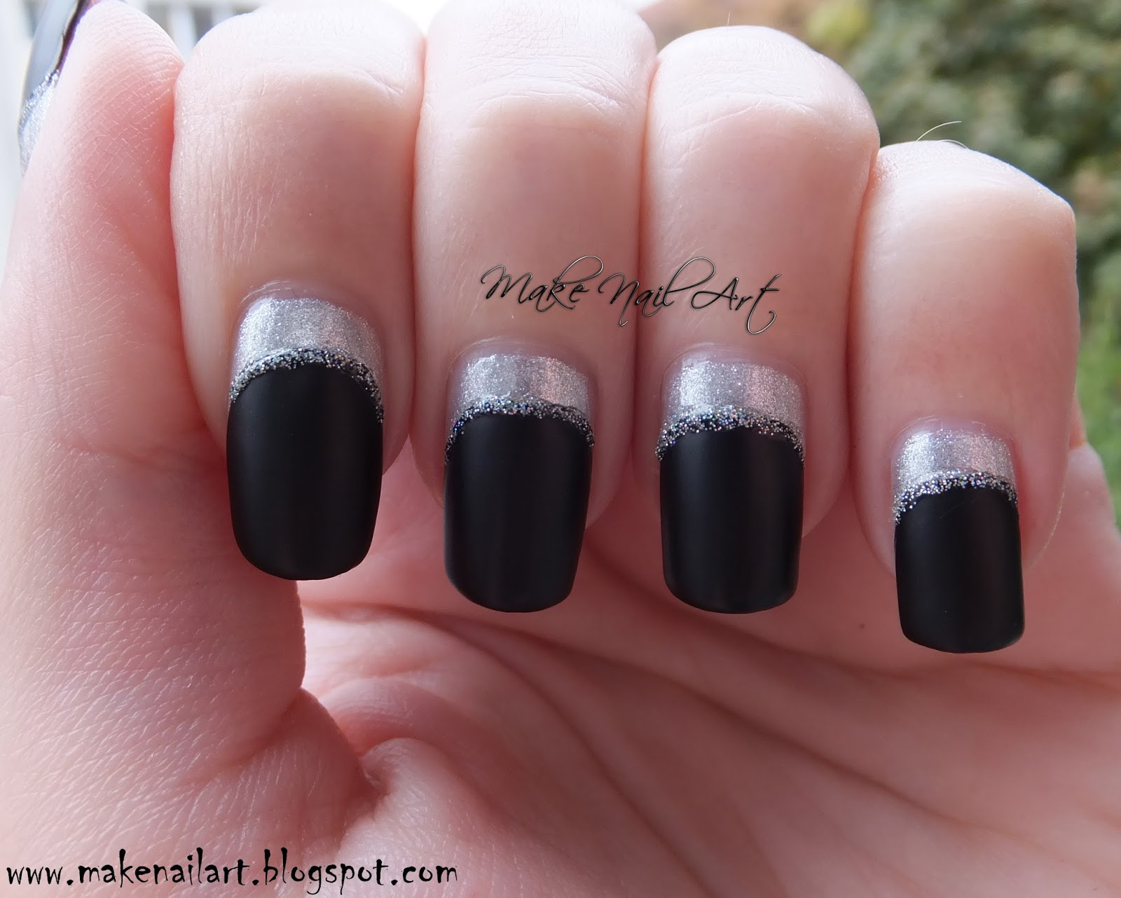 Make Nail Art Easy Black And Silver Colour Blocking Nail Art Design