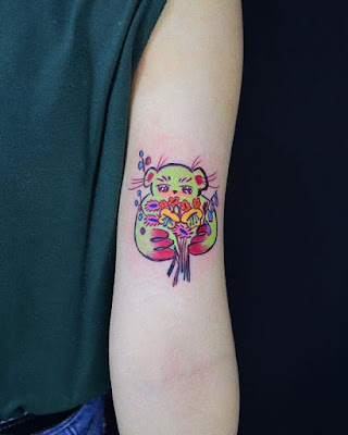 girly small teddy bear tattoo
