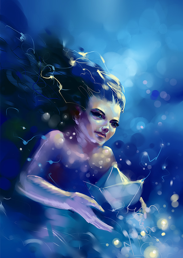 surreal sexy purple woman in blue water painted book cover illustration design
