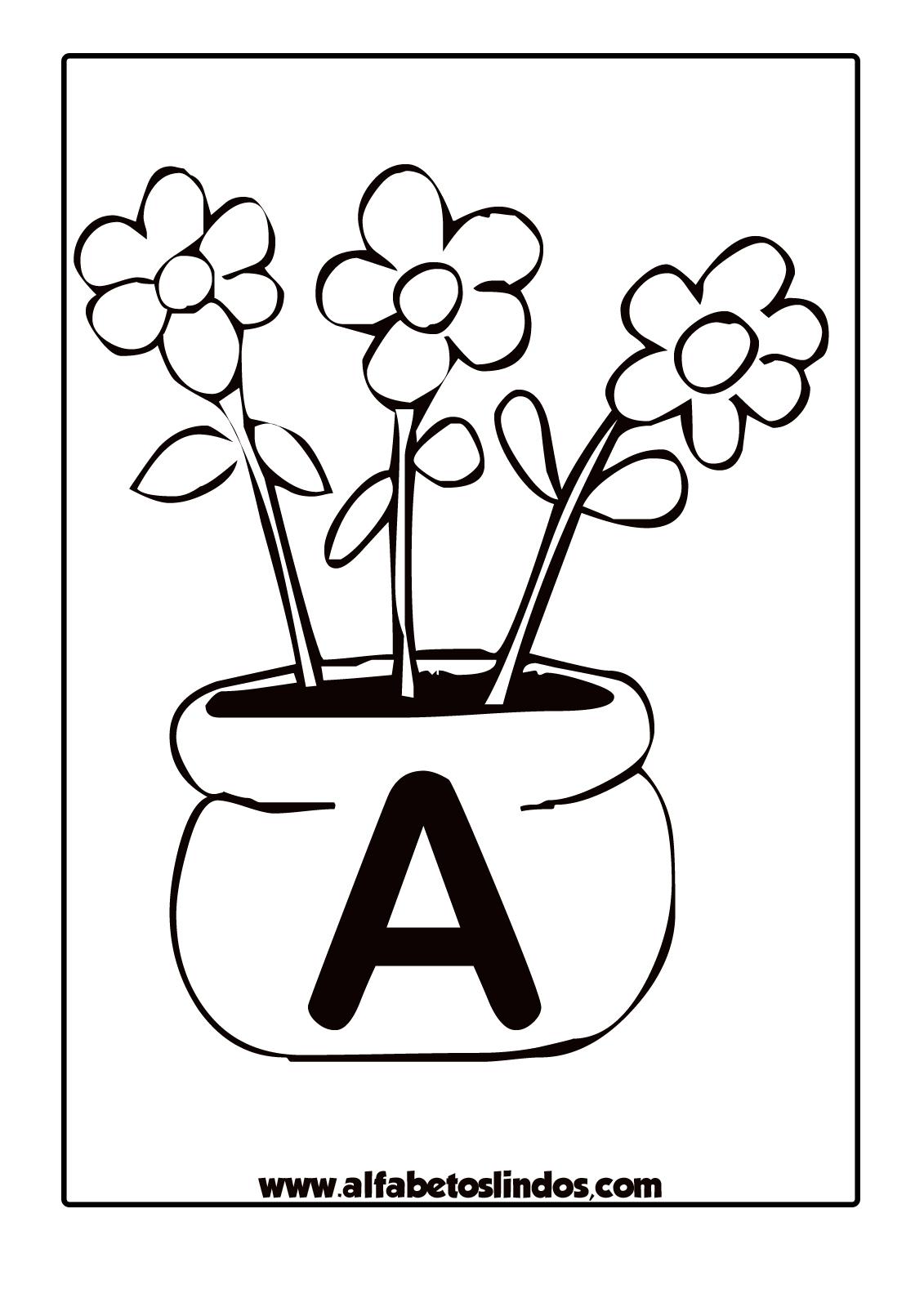 Alfabeto Primavera Flores Nos Jarros Para Colorir Pintar