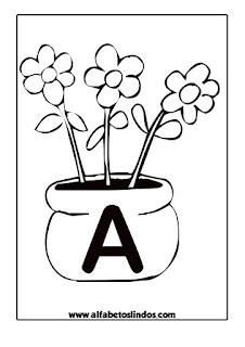 Alfabeto Primavera flores nos jarros para colorir, pintar, imprimir! Alfabeto flores!