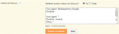 Robots.txt khusus