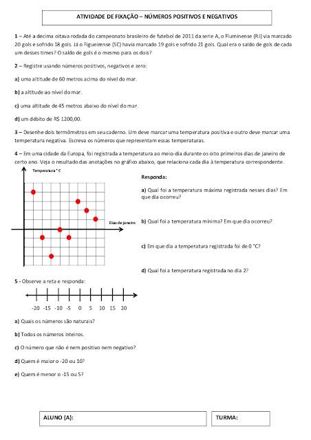 atividade de matematica 7 ano