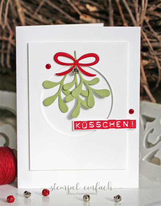 weihnachtskarte mit mistelzweigen