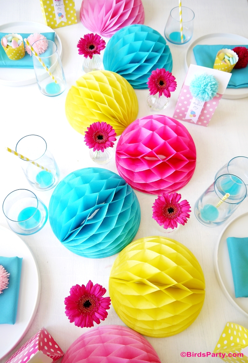 Mother's Day Color Pop Tablescape Ideas Mother's Day Color Pop Party Favors and DIY Gifts - BirdsParty.com