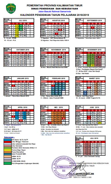Download Kalender Pendidikan Tahun Ajaran 2018/2019 Provinsi Kalimantan Timur