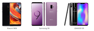 compare leagoo s9 samsung s9, xiaomi mix