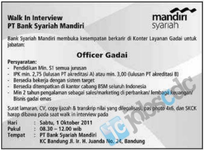 Lowongan Kerja Perusahaan Di Bogor Februari 2013 Lowongan Kerja Bogor Februari 2013 Terbaru Lebahndut Walk In Interview Pt Bank Syariah Mandiri Kc Bandung October 2011