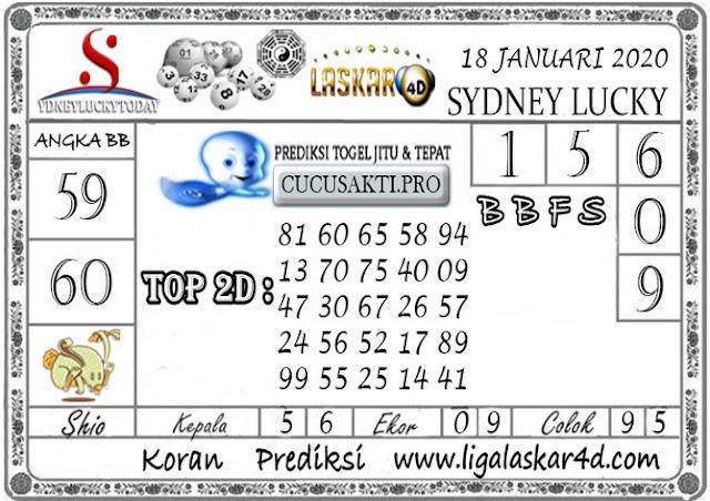 Prediksi Sydney Lucky Today LASKAR4D 18 JANUARI 2020
