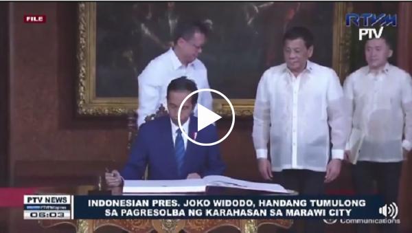 WATCH   Indonesian Pres. Joko Widodo, handang tumulong sa pagresolba ng karahasan sa Marawi City