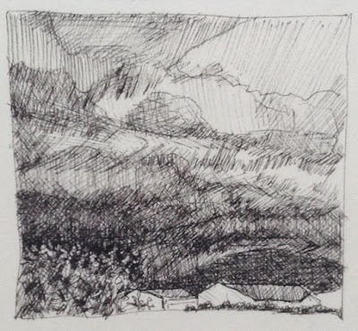 Ink sketch of sky to the southeast over Bell Hill - N.VanBlaricom
