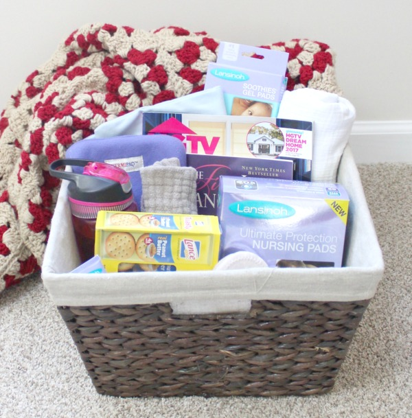 Breastfeeding essential supplies- a basket to keep nearby during nighttime nursing sessions