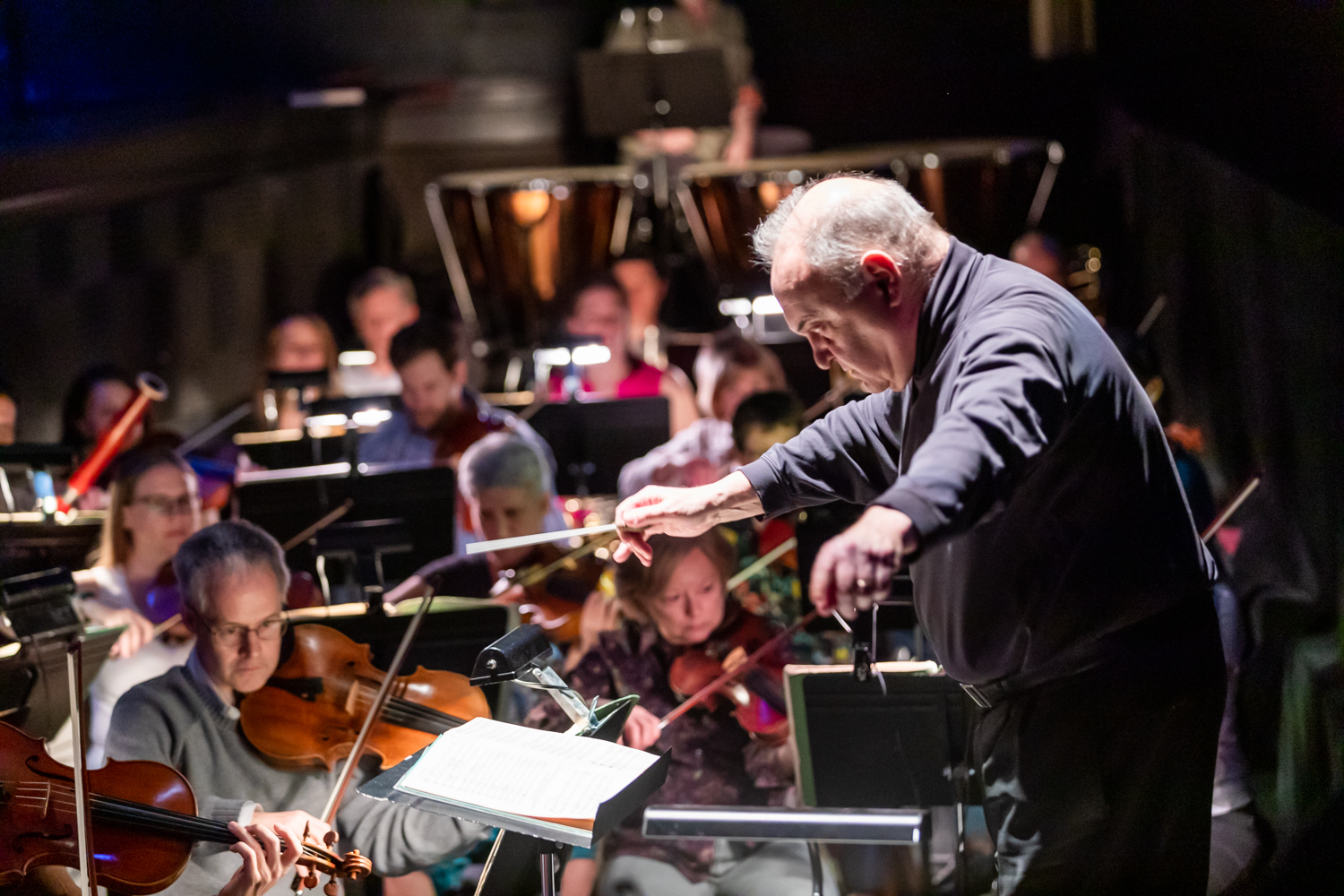 IN REVIEW: Maestro JOSEPH RESCIGNO and the North Carolina Opera Orchestra rehearsing for North Carolina Opera's April 2019 production of Giacomo Puccini's TOSCA [Photograph by Eric Waters, © by North Carolina Opera]