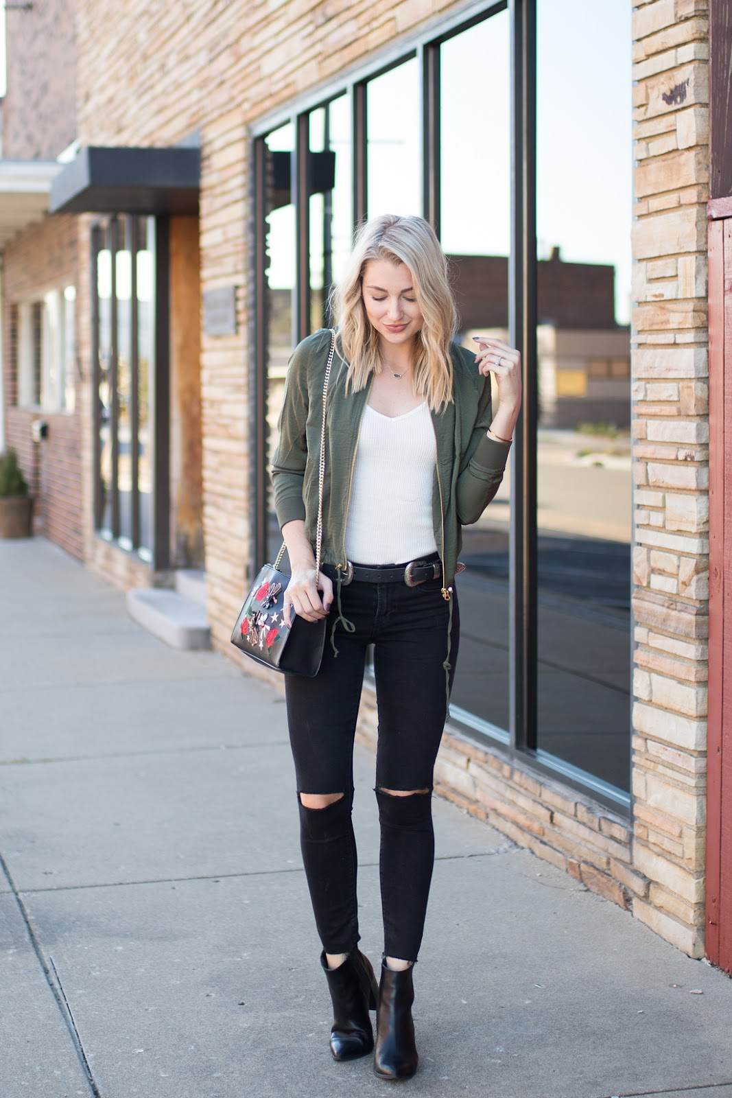 Fall outfit with a bomber jacket