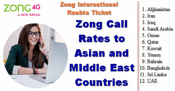 Zong International Raabta Ticket for Asian Countires
