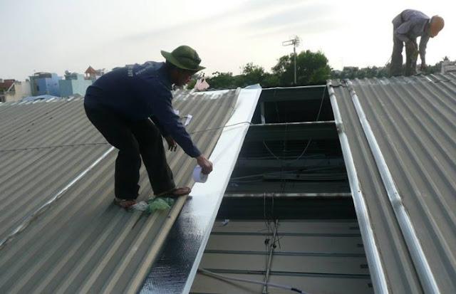 quy trình làm chống nóng cho mái tôn