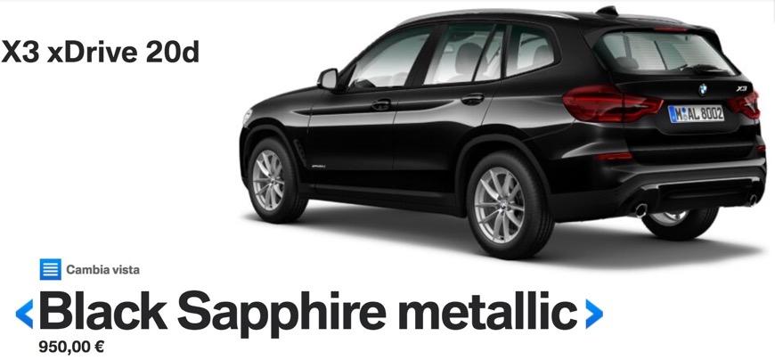 colori nuova bmw x3 2017 2018 Black Sapphire metallic