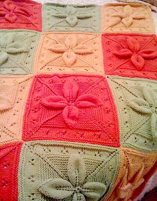 Lucky 4-Leaf Afghan Block - Free knitting Pattern