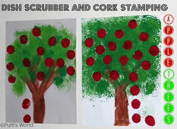 Scrubber and Cork Stamping for kids
