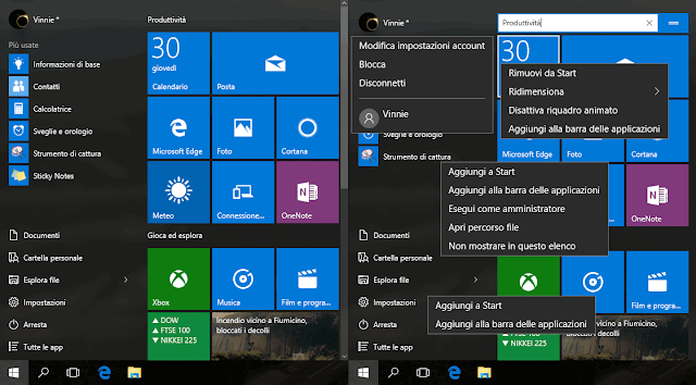 Menu Start Windows 10 voci menu contestuale