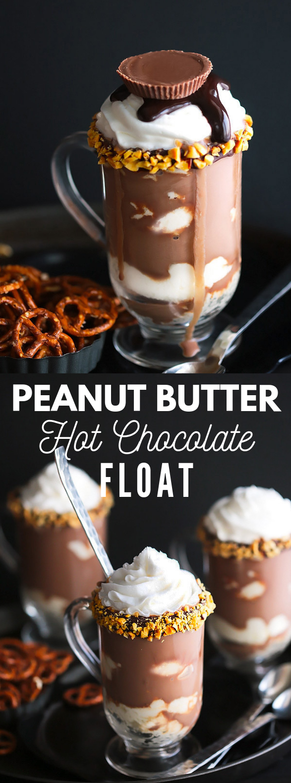 PEANUT BUTTER HOT CHOCOLATE FLOAT #drink #icecream
